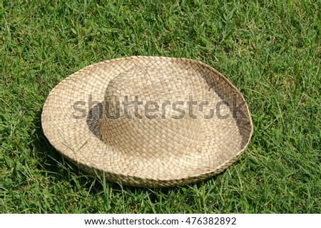 Hat on the lawn background