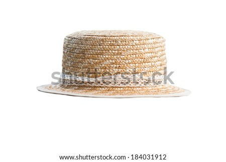 Hat on the table. Old gray wooden plank. - stock photo