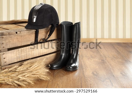 hat shoes and wooden box  - stock photo