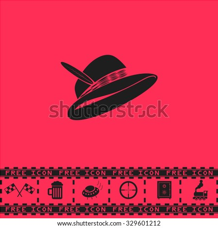 Hat with a feather. Black flat illustration pictogram and bonus icon - Racing flag, Beer mug, Ufo fly, Sniper sight, Safe, Train on pink background - stock photo