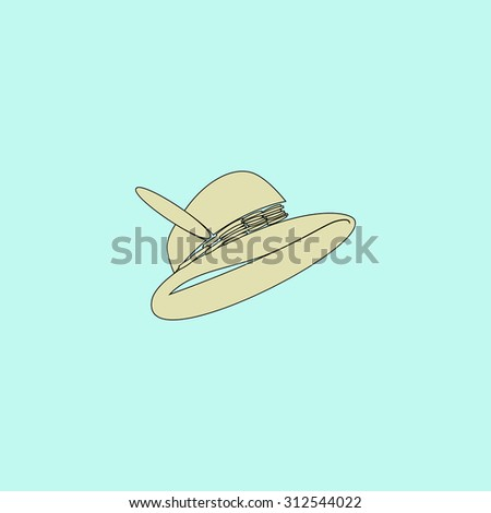 Hat with a feather. Flat simple line icon. Retro color modern illustration pictogram. Collection concept symbol for infographic project and logo - stock photo