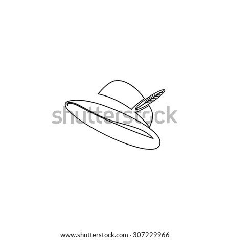 Hat with a feather. Outline black simple symbol - stock photo