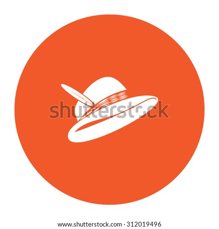 Hat with a feather. Simple flat white icon in the orange circle. illustration symbol - stock photo
