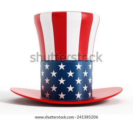 Hat with American flag texture. - stock photo