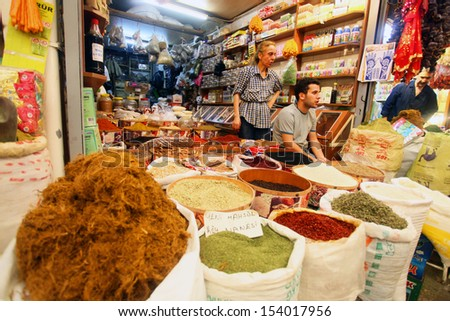 HATAY, TURKEY - AUGUST 21: Spices market in historical place 'Uzun Carsi', on August 21, 2011 in Hatay, Turkey. Uzun Carsi is oldest and one of the most important shopping certer in Hatay.