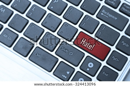 hate button, hate concept, message on computer keyboard. - stock photo