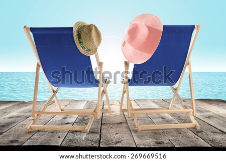 hats and chairs  - stock photo