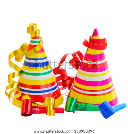 Hats and Decorations for birthday party isolated on white background - stock photo