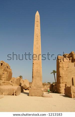 Hatshepsut's Obelisk in Carnak temple, Luxor, Egypt - stock photo