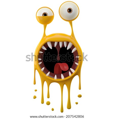 Haunted 3D object, yellow bacteria, splash paint, dripping liquid, splattered dangerous virus, funny mascot with mouth and sharp teeth, scary crazy slug, decorative flat isolated on white background - stock photo
