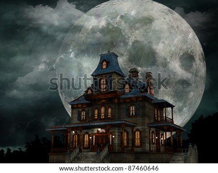 Haunted House - A creepy haunted house with a weathered, vintage look for Halloween and other spooky occasions. - stock photo
