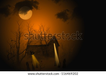 haunted house in moonlight - stock photo