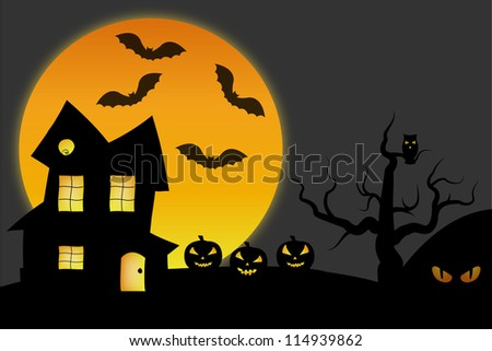 Haunted house in scary night illustration - stock photo