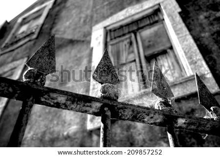 Haunted house, Scary scene - stock photo