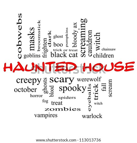 Haunted House Word Cloud Concept in red and black letters with great terms such as cobwebs, goblins, dark, scary and more.
