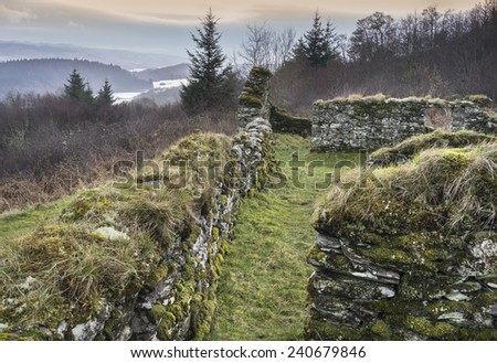 Haunting remains of Arichonan Township, a Cleared village in the Highlands of Scotland. - stock photo
