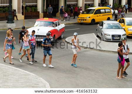 HAVANA - APRIL 27: Old cars on the streets of Havana, Cuba on April 27, 2016 - stock photo