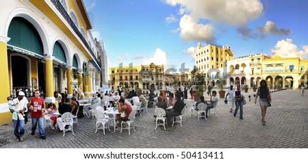 "HAVANA - CIRCA NOV 2008. Panoramic view of brewery in Old Havana ""Plaza Vieja"", declared by UNESCO World Heritage Site in 1982. Taken on Circa nov 2009 in Havana, cuba. - stock photo"
