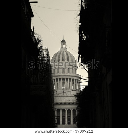 Havana cityscape in black and white - Capitoly dome with shabby buildings silhouette in the front - stock photo