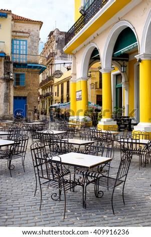 HAVANA,CUBA- APRIL 20,2016 :  Outdoor cafe at Plaza Vieja in the colonial neighborhood of Old Havana - stock photo