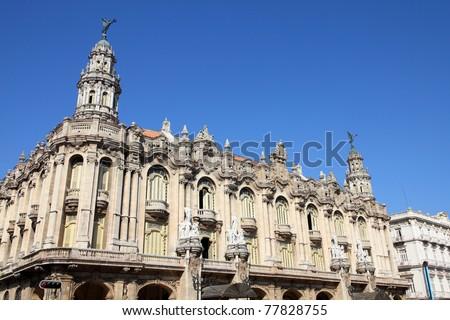 Havana, Cuba - city architecture. Famous Great Theatre building. - stock photo