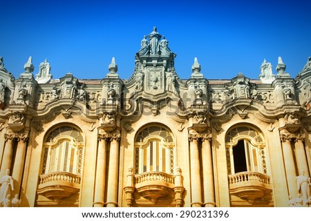 Havana, Cuba - city architecture. Famous Great Theatre building. Filtered colors. - stock photo