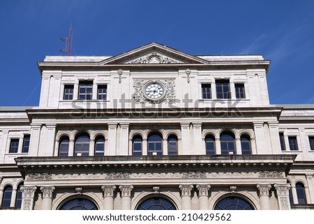 Havana, Cuba - city architecture. Old Lonja del Comercio building - stock photo
