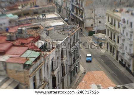 Havana Cuba cityscape architecture from an elevated view along empty streets  - stock photo