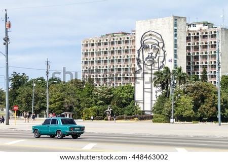 HAVANA, CUBA - FEB 21, 2016: Portrait of Che Guevara on the Ministry of the Interior on Plaza de la Revolucion. - stock photo