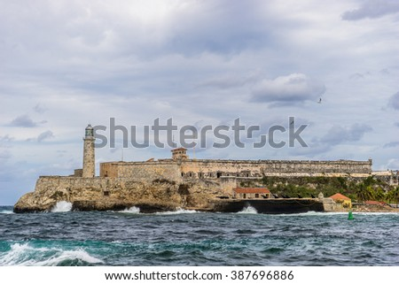 Havana, Cuba - February 10, 2016: Castillo de los tres and the ocean