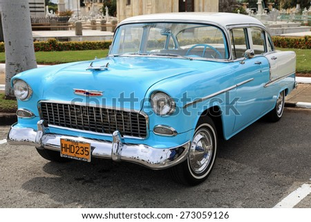 HAVANA, CUBA - FEBRUARY 10:  Classic vintage Chevrolet, on February 10, 2012.  Before October 2011, Cubans could only trade old cars that were on the road before the 1959 revolution. - stock photo