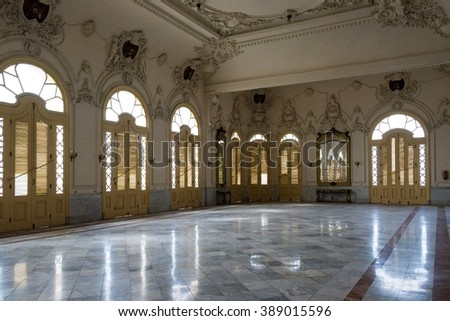 HAVANA,CUBA-FEBRUARY 8,2016:National theater Alicia Alonso interior luxurious architectural details. The landmark is a major tourist attraction made of white marble in its great majority.
