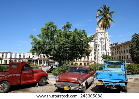HAVANA, CUBA - JANUARY 30, 2011: Classic American cars on January 30, 2011 in Havana. Recent change in law allows the Cubans to trade cars again. Most cars in Cuba are very old because of the old law. - stock photo