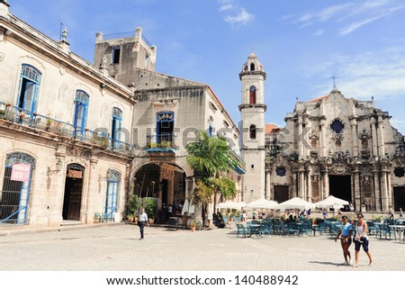 HAVANA -CUBA-JULY 11: Cathedral Square in Old Havana July, 2009 in Havana.