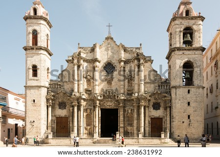 HAVANA,CUBA-JULY 14,2014: The Cathedral of The Virgin Mary of the Immaculate Conception is one of eleven Roman Catholic cathedrals. Located in the Plaza de la Catedral in the center of Old Havana.  - stock photo