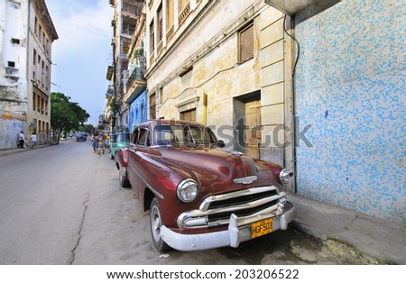 HAVANA, CUBA - JULY 9, 2010.  Vintage classic American car, commonly used as private taxi parked in Havana street.  - stock photo