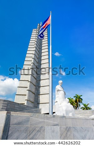 HAVANA,CUBA - JUNE 22,2016 : Monument and cuban flag at the Revolution Square in Havana on a beautiful summer day - stock photo