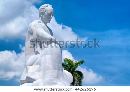 HAVANA,CUBA - JUNE 22,2016 : The Jose Marti memorial monument at the Revolution Square in Havana with a blue sky background - stock photo