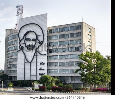 HAVANA, CUBA - MARCH 23, 2015 - building with image of Fidel Castro at La Plaza de la Revolucion, in Havana. - stock photo