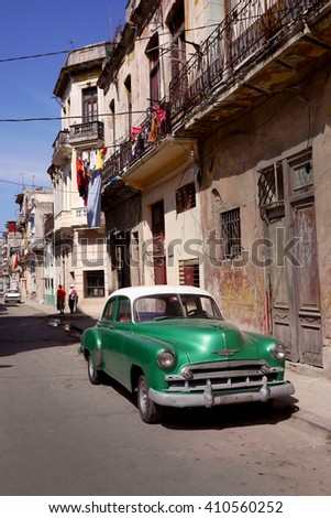 HAVANA, CUBA - 3 March, 2106 : Many Cubans use old american cars for their daily transportation and as taxis.