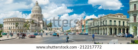 HAVANA,CUBA - MARCH 17, 2014 : Street scene with people and old cars next to the Capitol buildiing in Old Havana - stock photo