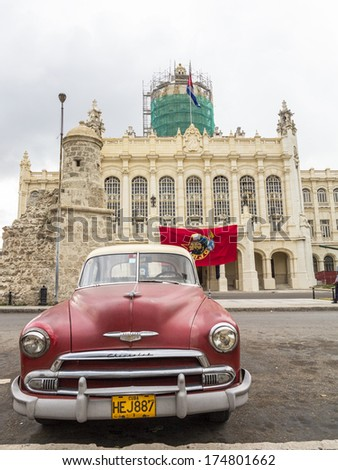 HAVANA, CUBA -  MAY-15-2013:a typical old style American car that tourists can find going to visit Cuba. In other nations these cars are for collectors and it's difficult to find them - stock photo