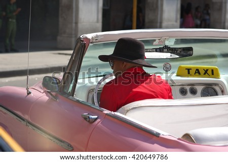 HAVANA, CUBA - May 01, 2016. Old classic taxi car is an iconic sight on the streets of the city - stock photo