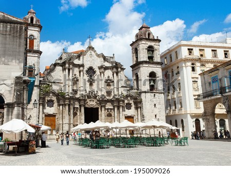 HAVANA, CUBA - MAY 9, 2014:Tourists at the Cathedral Square in Old Havana - stock photo