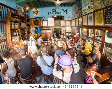 HAVANA,CUBA - NOVEMBER 12, 2015 : La Bodeguita del Medio, a worldwide famous cuban restaurant - stock photo