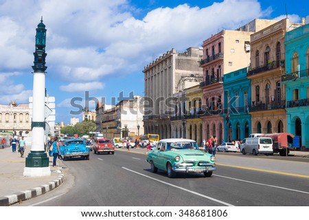 HAVANA,CUBA - NOVEMBER 24,2015 : Street scene with people and old american cars in downtown Havana - stock photo