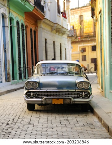 HAVANA, CUBA - OCT 5, 2008: Front view of vintage classic american car Chevorolet commonly used as private taxi in Havana. - stock photo