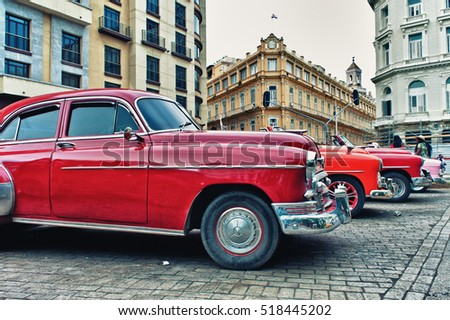 HAVANA, CUBA- OCT 31, 2016: old classic american car parked on the street