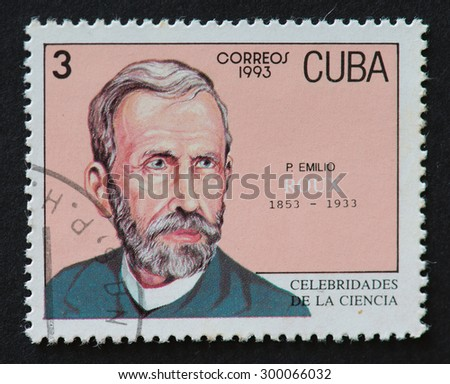 HAVANA,CUBA- REVOLUTIONARY PERIOD: Cuban postal stamp of Correos 1993 series depicting the image of scientist Emilio Roux. - stock photo