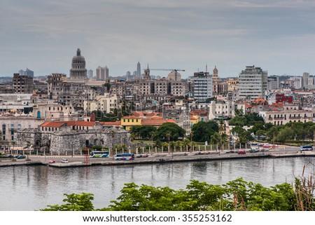 Havana, Cuba - September 27, 2015: Panoramic view over Cuba capital Havana from Morro Castle. - stock photo